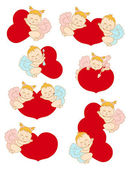 Set cupids with hearts — Vector de stock