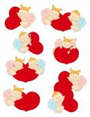 Set cupids with hearts — Stock Vector