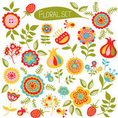 Floral set of colorful  flowers. — Stock Vector