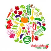 Vegetables colored icons — Stock Vector