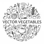 Circle of vegetables icons — Stock Vector