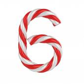Christmas candy cane 3d font - number 6 — Stock fotografie