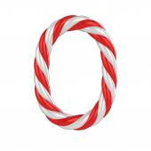 Christmas candy cane 3d font - number 0 — Stock Photo