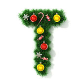 Christmas font letter T — Stock Photo