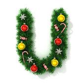 Christmas font letter U — Stock Photo