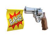 Toy gun with bang flag — Stock Photo