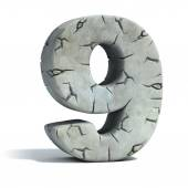 Number 9 cracked stone 3d font — Stock Photo