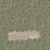 大量的芯片所涵盖的老键盘 — 图库照片