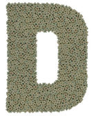 Letter D made of old and dirty microprocessors — Zdjęcie stockowe