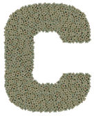 Letter C made of old and dirty microprocessors — Zdjęcie stockowe