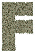 Letter F made of dirty microprocessors — Zdjęcie stockowe
