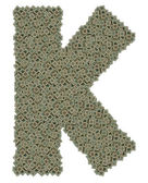 Letter K made of old and dirty microprocessors — Zdjęcie stockowe