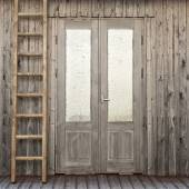 Door with frosty window of plank house — Stock Photo
