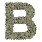 Letter B made of old and dirty microprocessors, isolated on white background — Stock Photo