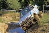 Off road car over water obstacle — Foto Stock