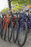 Color bicycles in Amsterdam — Stock Photo