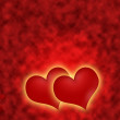 Romantic red hearts with a golden glow — Stock Photo #61125005