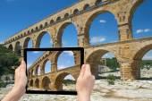 Travel to the Pont du Gard (France) — Stock Photo