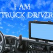 Dashboard of the truck with inscription in the blue sky — Stock Photo #72072907