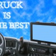 Dashboard of the truck with inscription in the blue sky — Stock Photo #72072909