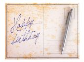 Old paper postcard - Happy birthday — 图库照片