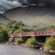Structure of metal railway bridge, stormy clouds — Stock Photo #53145877