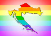 Rainbow flag pattern - Croatia — Stock Photo