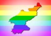 Rainbow flag pattern - North Korea — Stock Photo