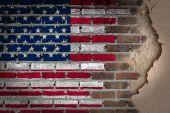Dark brick wall with plaster - USA — Stock Photo