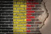 темная кирпичная стена с гипсом - бельгия — Стоковое фото