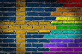 Темная кирпичная стена - права Лгбт - Швеция — Стоковое фото