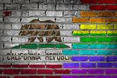 Dark brick wall - LGBT rights - California — Stockfoto