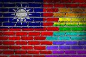Dark brick wall - LGBT rights - Taiwan — Stock Photo