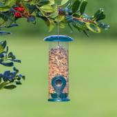 Bird feeder full of seeds — Stock Photo