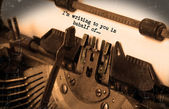 Old typewriter with paper — Stock Photo