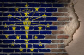 Dark brick wall with plaster - Indiana — Stock Photo