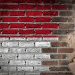 Dark brick wall with plaster - Indonesia — Stock Photo #61266601