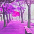 Painting showing beautiful sunny autumn day in a park — Stock Photo #61351275