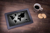 World map on a tablet — Foto de Stock