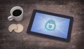 Tablet on a desk, concept of data protection — Stock Photo
