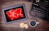 World map on a tablet — Stock Photo