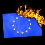 Flag burning - European Union — Stock Photo #63403973