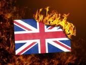 Flag burning - United Kingdom — Stock Photo