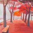 Painting showing beautiful sunny autumn day in a park — Stock Photo #63856015