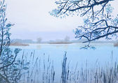 Original oil painting showing beautiful lake — Stock Photo