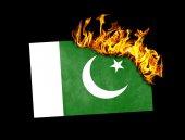 Flag burning - Pakistan — Stock Photo