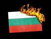 Flag burning - Bulgaria — Stock Photo