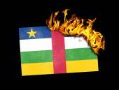 Flag burning - Central African Republic — Stock Photo