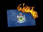 Flag burning - Maine — Stock Photo
