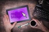 Online dating on a tablet — Stock Photo